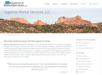 Superior Rental Services Website