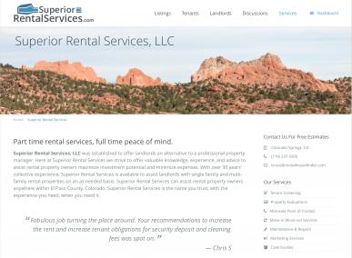 Superior Rental Services Website